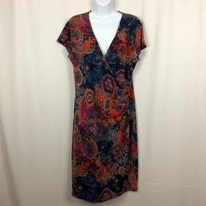 Jones New York short sleeve faux wrap dress L